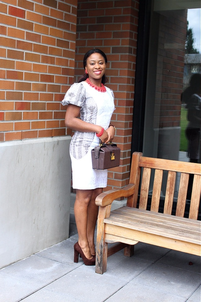 Ankara dress and suede heels