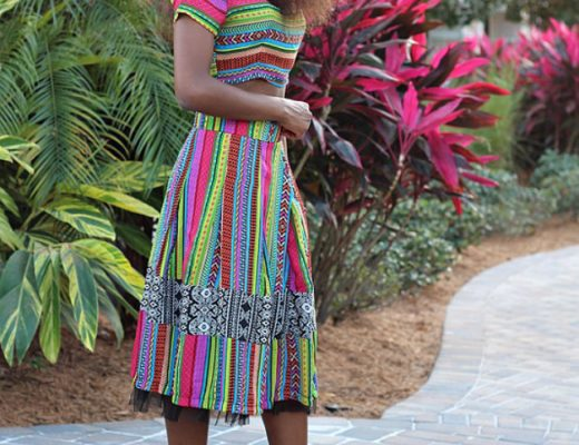 aztec crop top and midi skirt