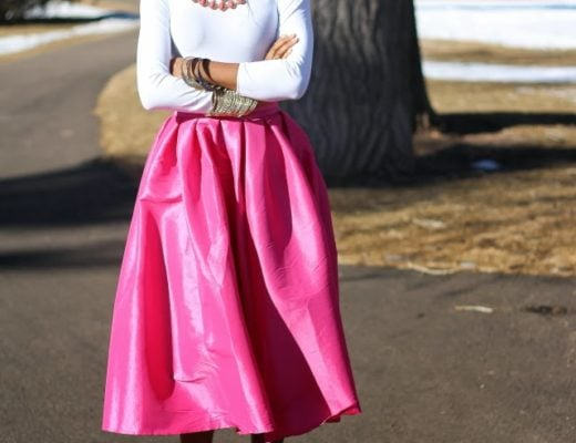 Bright pink skirt outfit