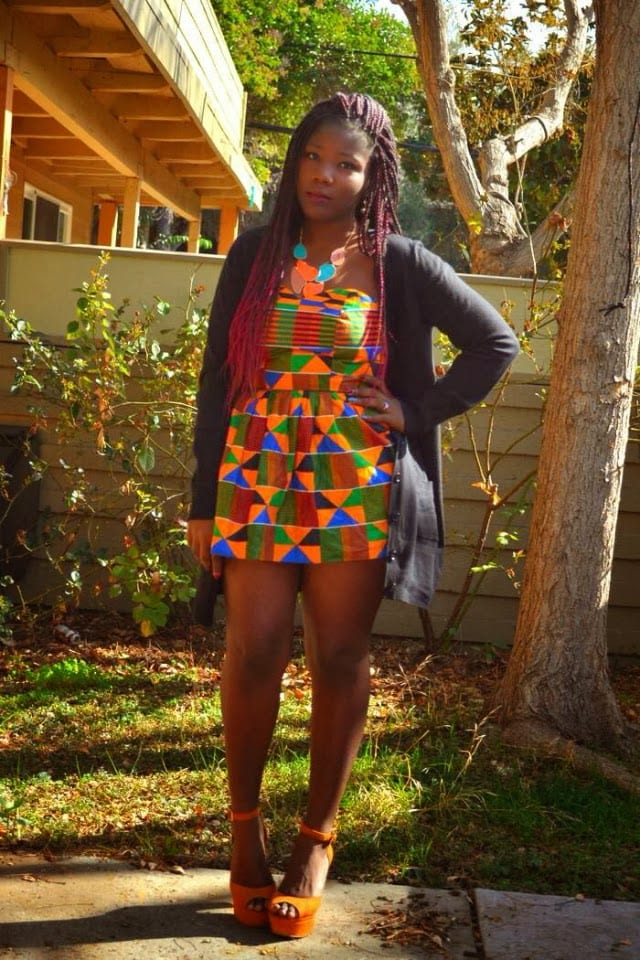 African print traditional dress paired with chunky heels.