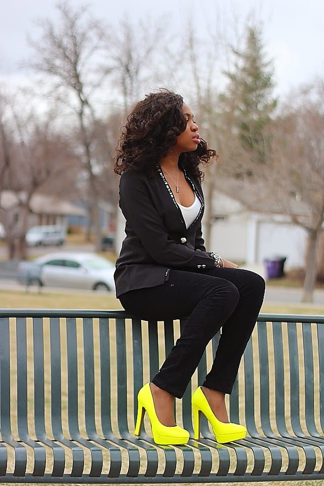 Neon Fashion: How do you style a pair of bright neon yellow shoes? Combine with neutral colors. Worn here with a pair of pant pants and embellished stone blazer.