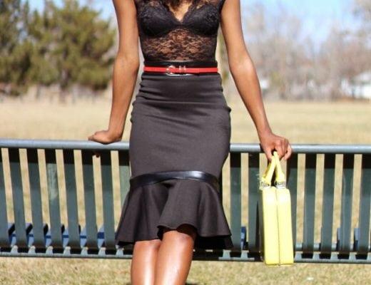 Black lace bodysuit outfit