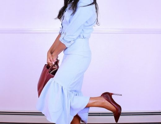 Marsala and blue outfit