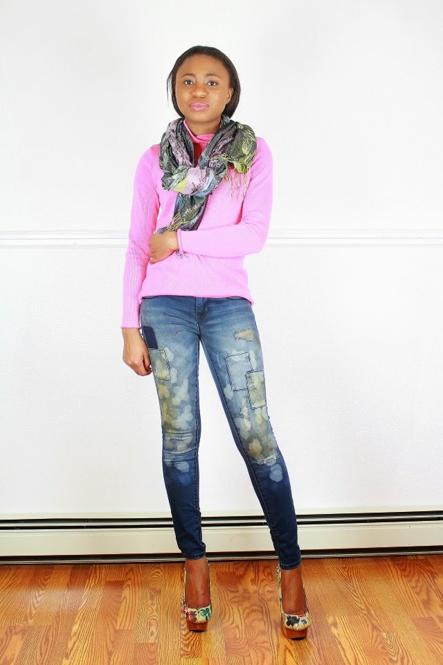 Sweater and denim outfit