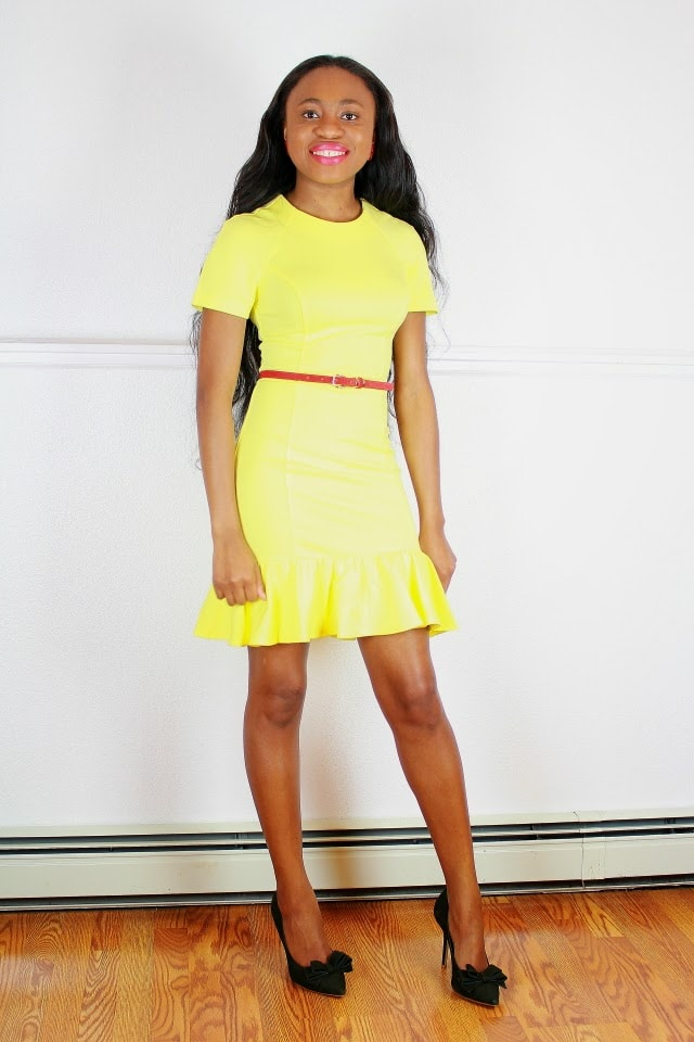 Yellow and red peplum dress outfit