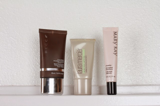 Becca ever matte poreless perfector, Laura Mercier tinted moisturizer, Makeup primer