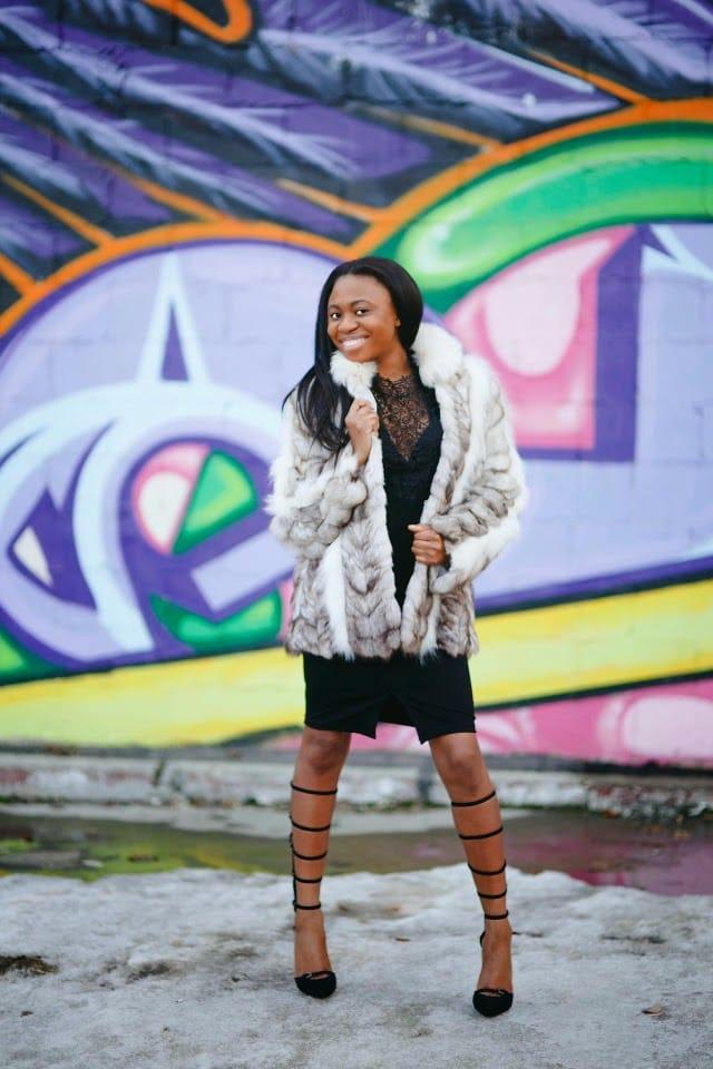 Fur and dress