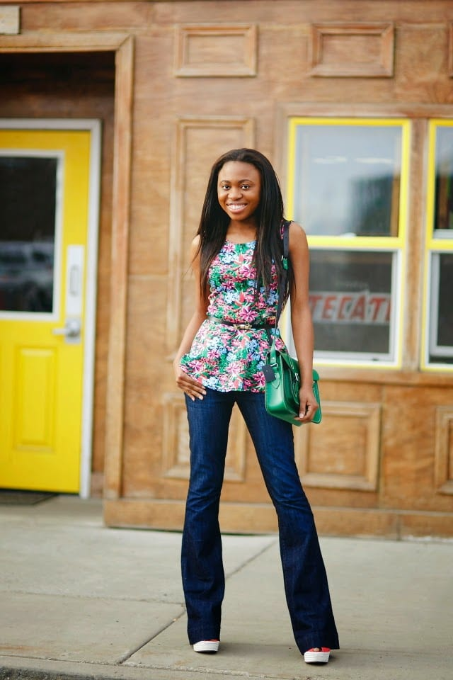 Flare denim pants and cute african