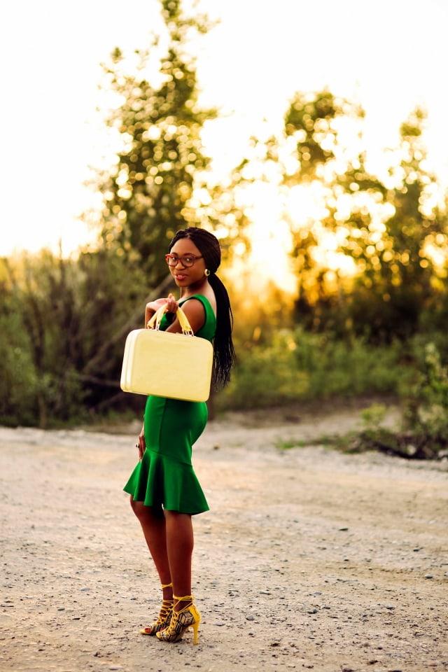 Lace up sandals, ShoeDazzle, Structured purse, Urban outfitters, Scuba midi dress, peplum midi dress, Firmoo glasses, Alaska Fashion blogger