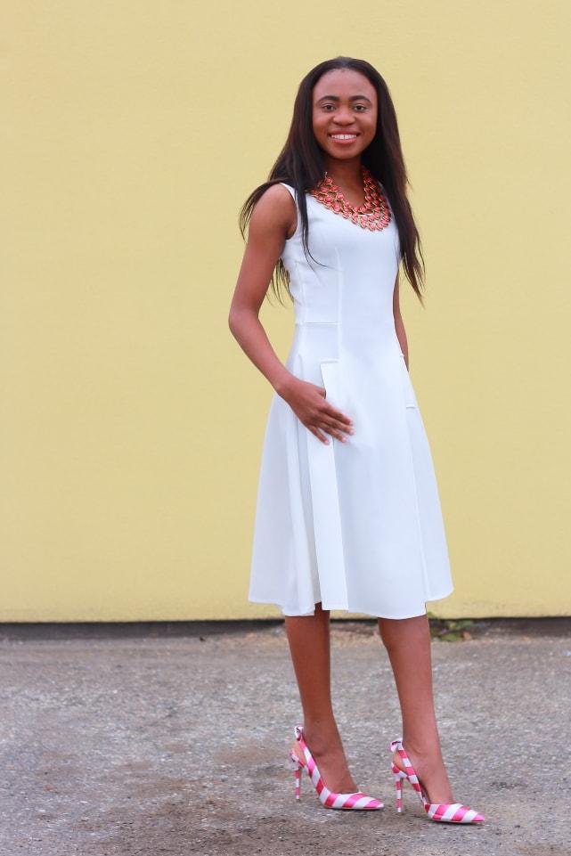 Flare dress, midi dress, Nigerian blogger, midi dress, reversible necklace, stripe heels, fashion blogger, Alaska blogger