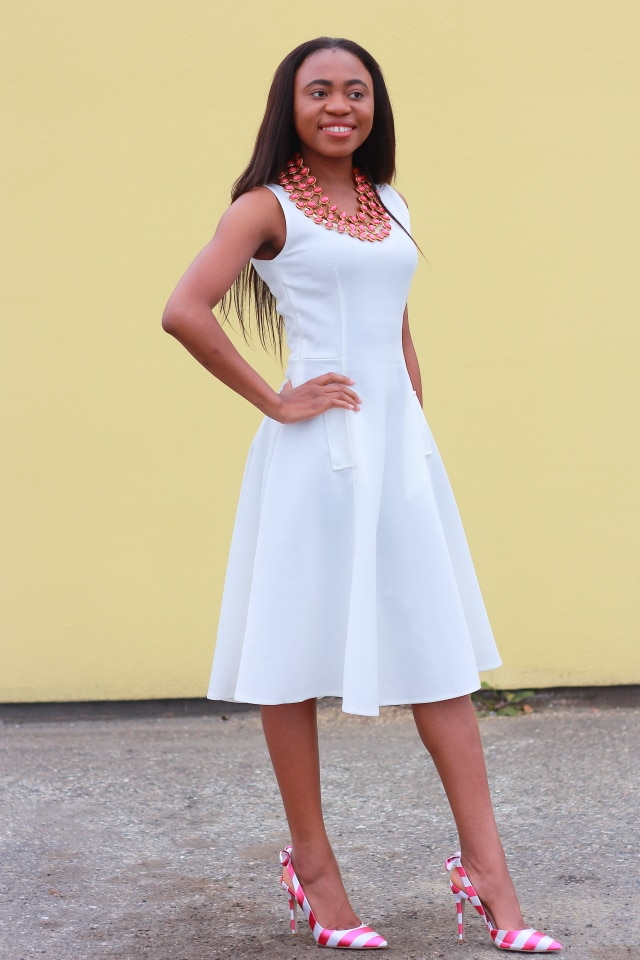Beauty blogger, Alaska fashion, white midi dress, Flare dress, midi dress, midi dress, reversible necklace, stripe sandals, fashion blogger, Alaska blogger