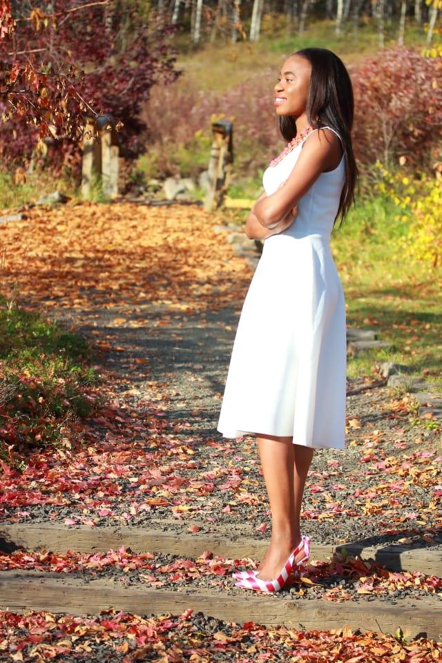 Affordable fashion, Flare dress, midi dress, midi dress, reversible necklace, stripe sandals, fashion blogger, Alaska blogger