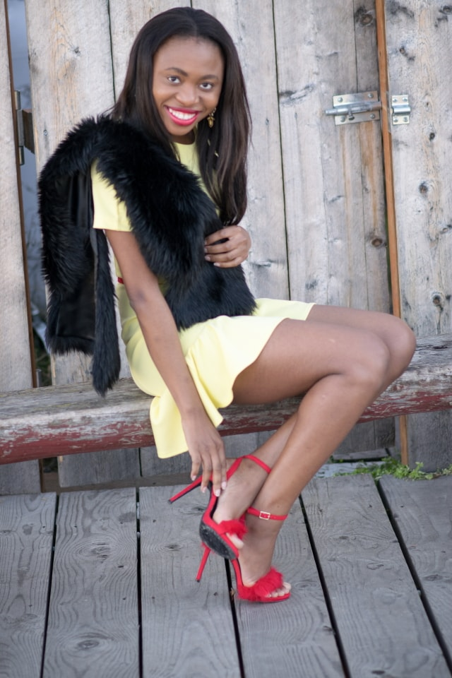 ShoeDazzle princessa fur dress sandals, red heeled sandals, fur collar