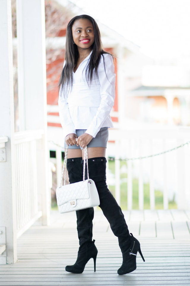 Black suede thigh high boots for women, cheap thigh high boots, fashion bloggers, Alaska fashion