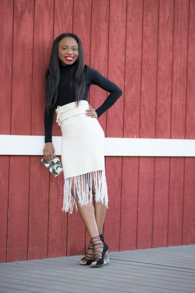 Laceup wedge, platform wedge, black crop top, wrap around belt, fringe skirt, tassel skirt