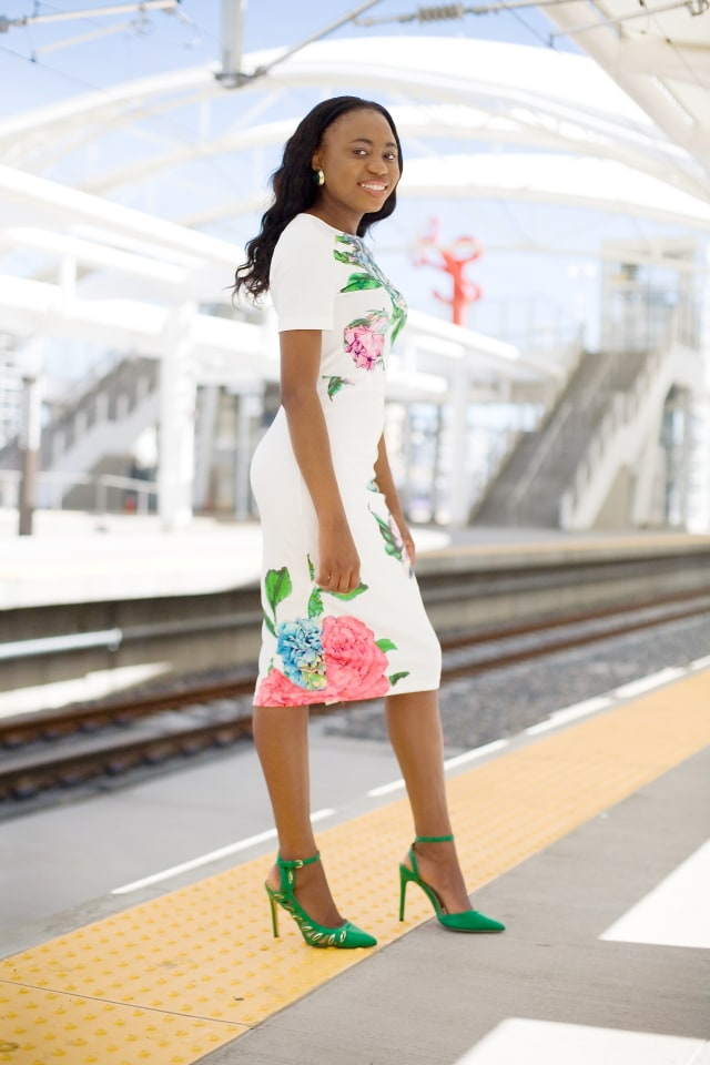 Complete outfits, Outfits under $100, ShoeDazzle sandals, SheIn midi white dress, Nigerian blogger, Online shopping, Fashion blogger, Alaska fashion, Fashion for less