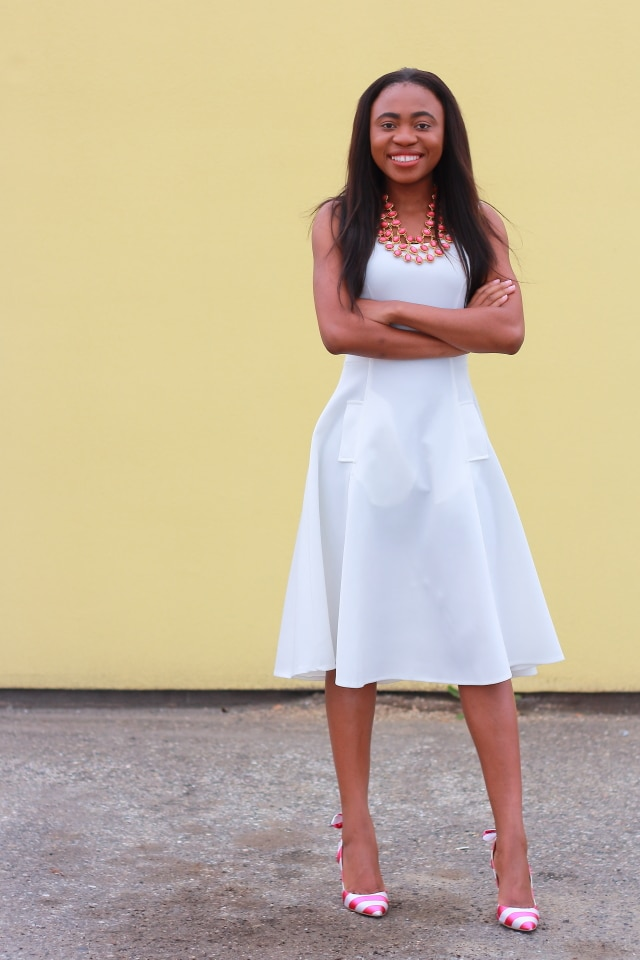 Complete outfits, Outfits under $100, Romwe midi white dress, Amrita Singh jewelry, Nigerian blogger, Online shopping, Fashion blogger, Alaska fashion, ShoeDazzle striped heeled sandals