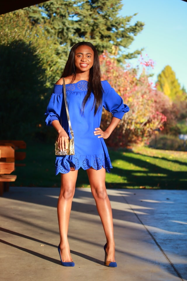 Off shoulder dress, smocked dress, Peplum hem dress, Alaska fashion, Alaska blogger, online shopping, affordable shopping, loose dress
