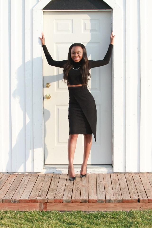 Complete outfits, Outfits under $100, Boohoo black wrap skirt, Gilt black stiletto sandals, Black turtleneck crop top, Ami Club Wear, Nigerian blogger, Online shopping, Fashion blogger, Alaska fashion,