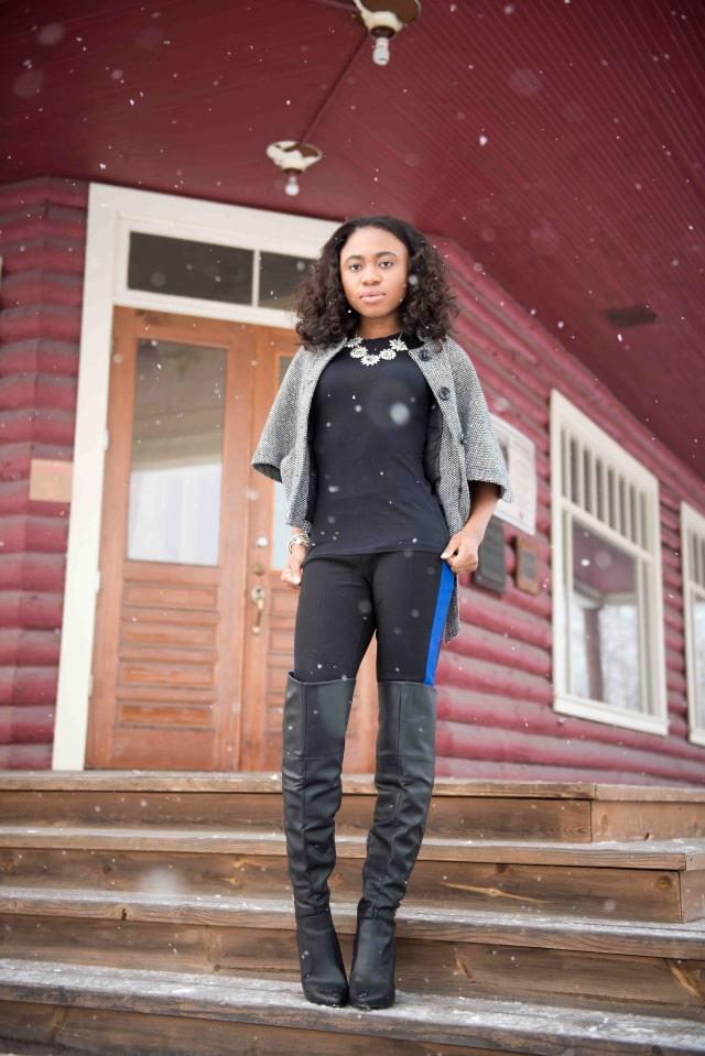 Alaska Winter: Cape coat + OTK boots
