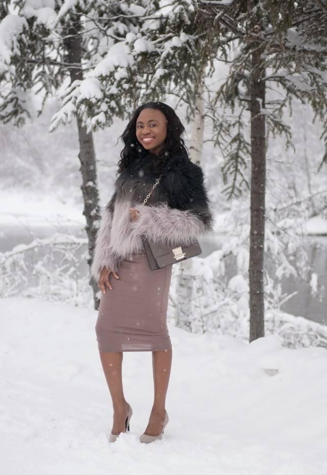 Winter, Nigerian, Blogger, Bodysuit, Lace, Snow, Fairbanks, bodycon midi skirt, Fashion blogger, Street style blogger