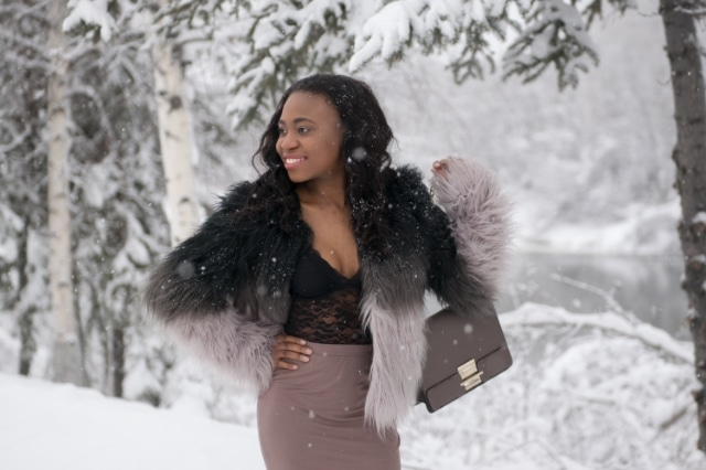 Faux fur coat, Alaska, Arctic, Winter, Nigerian, Blogger, Bodysuit, Lace, Snow, Fairbanks, bodycon midi skirt, Fashion blogger, Street style blogger