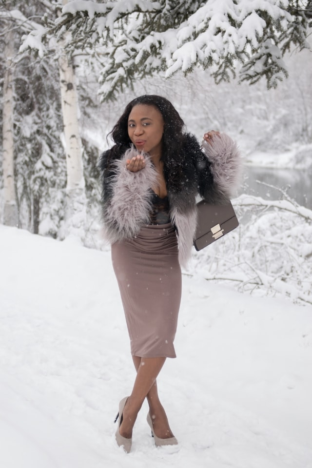 Fashion Bloggers on Instagram, Alaska, Arctic, Winter, Nigerian, Blogger, Shoedazzle purse, Bodysuit, Lace, Snow, Fairbanks, bodycon midi skirt, Fashion blogger