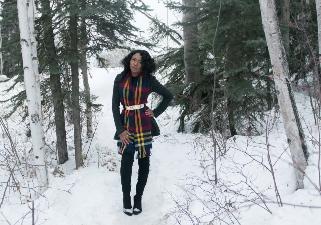 Styling a thrifted fringe scarf in Alaska