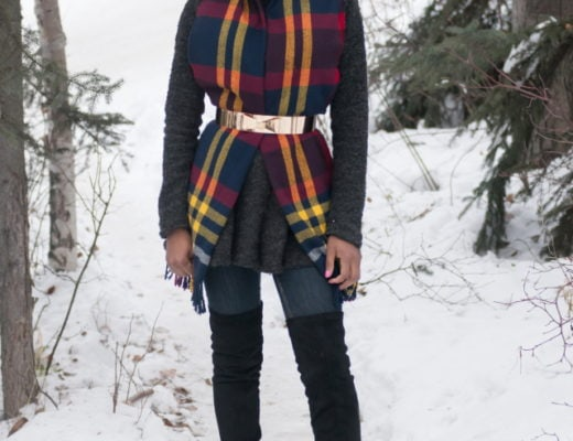 Winter fashion | Kitten heels thigh high boots with skirt
