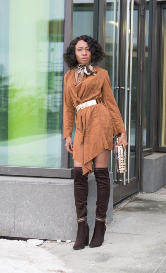 Faux suede outfit with suede thigh high boots