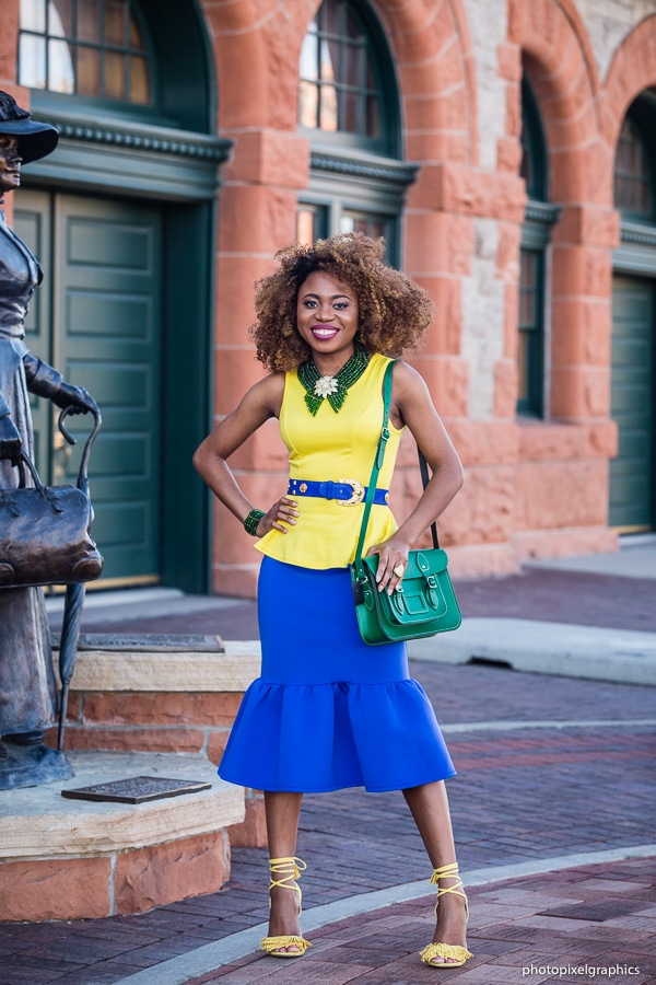 Created an outfit with analogous colors: blue, green and yellow