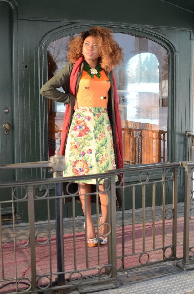 Jacquard beaded skirt