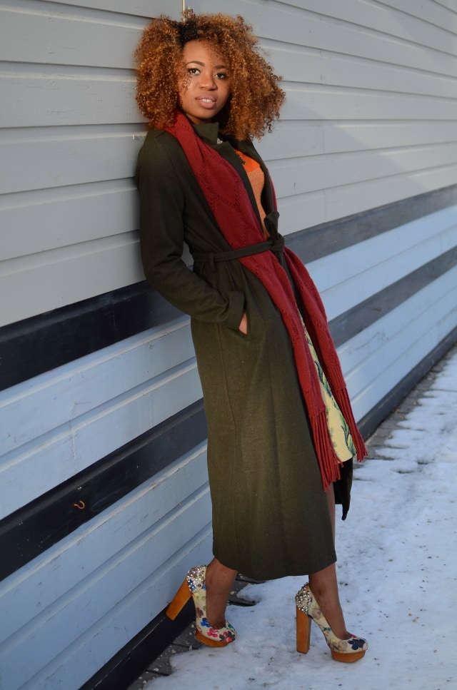 Wearing a longline wool coat