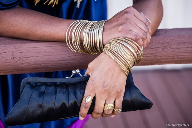 Arm candy with metallic bangles and stackable rings