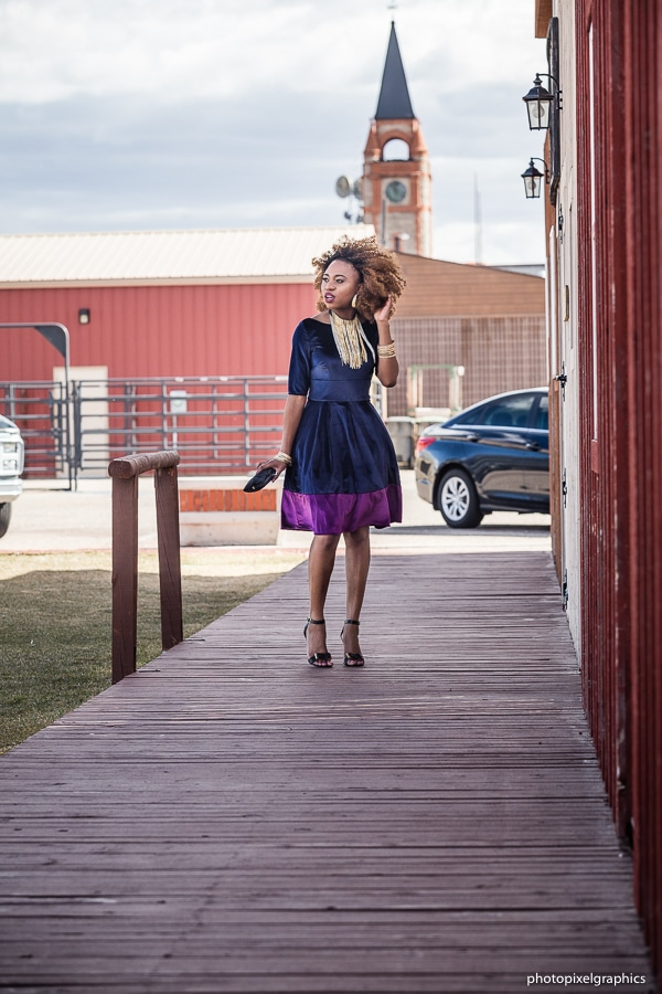 Having some fun with the wind in Wyoming in this two tone dress