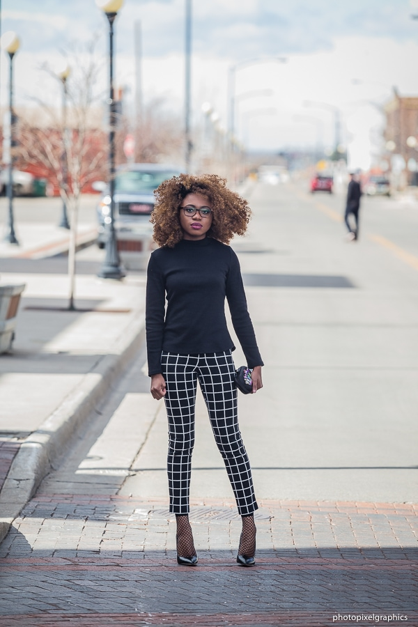 A chic way to style a long sleeve lace up top