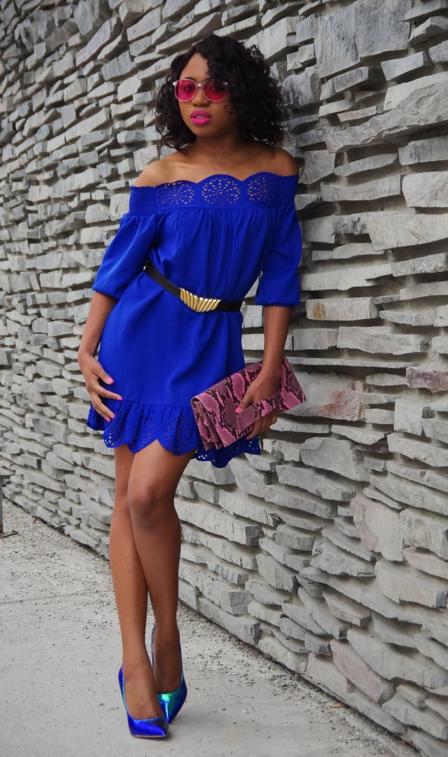 Sexy pink and blue evening outfit: blue peplum hem off shoulder laser cut dress with blue-green hologram iridescent pumps.