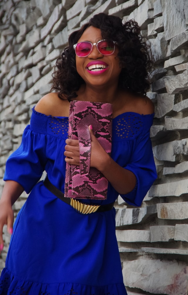 Now this is the epitome of sexy! A perforated off should dress, blue hologram heels, and pop of pink leopard purse. Summer fashion | Fashion blogger | Summer style | Summer outfit | Cute casual dresses | Spring fashion | Alaska | Summer looks | Summer hair | Street Style |