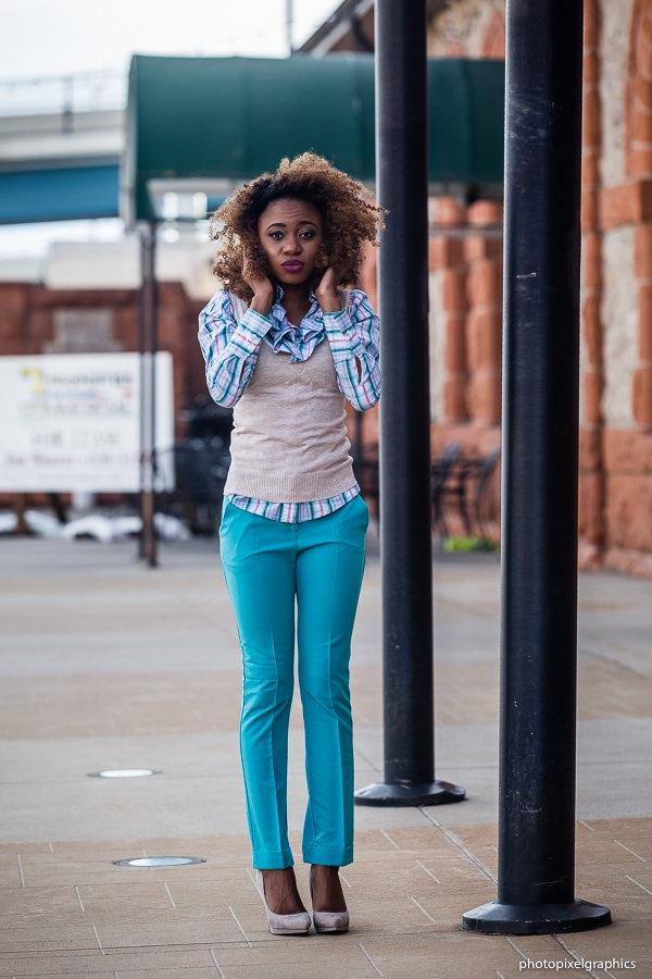 Aqua blue outfit inspiration with sweater vest