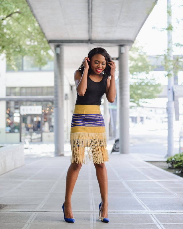 Aso oke traditional fringe skirt