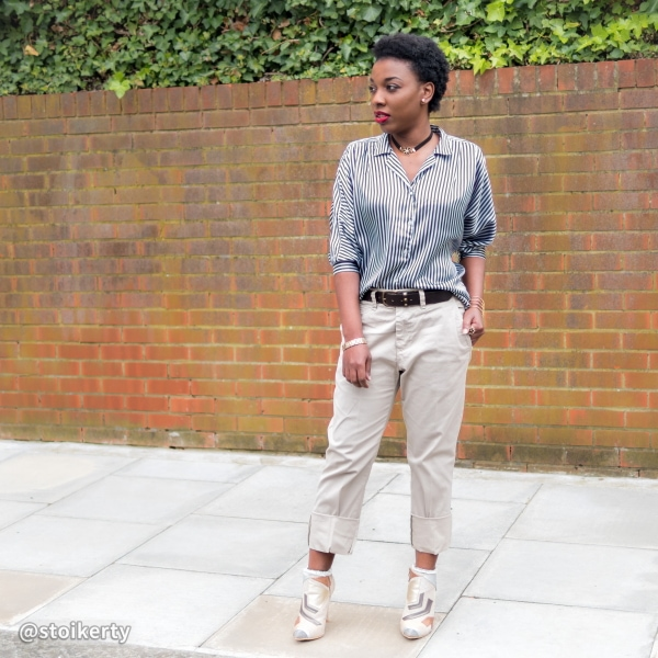 Menswear inspired look with bootie