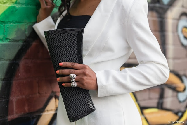 Rhinestone bow ring and beaded clutch
