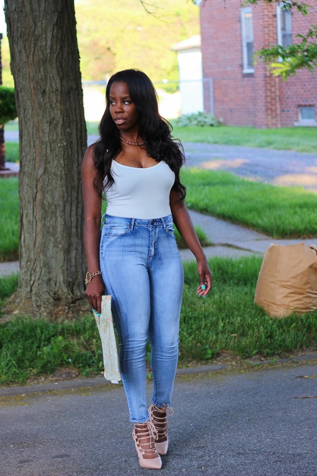 Fitted denim outfit with a cotton cami top