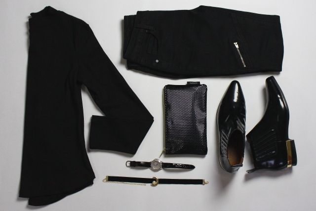 All black outfit flatlay