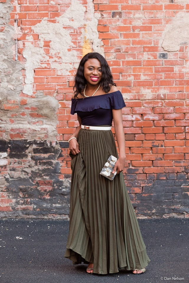 6e1522e83 Wedding guest outfit inspiration wearing pleated maxi skirt.