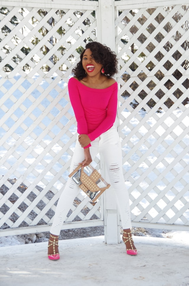 White and pink outfit: off the shoulder shirt and ripped denim