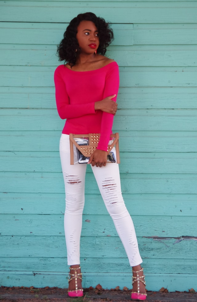Off shoulder top, studded clear envelope purse, and studded heels