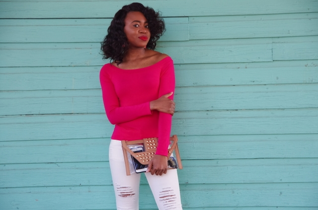 Pink off shoulder top with clear studded purse