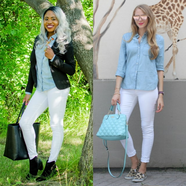 Blogger Collab: Chambray Shirt Outfit | Two bloggers came together to create two amazing chambray shirt outfits based on their personal style. Pair the chambray blouse with a slip-on sneakers for a chic summer appeal or with ankle booties and a fitted blazer for fall. Click to check out their looks.