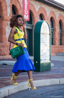 Analogous Colors: Peplum skirt + Fringe Sandals